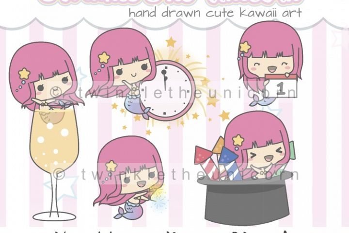 KAWAII MERMAID CLIPART, png graphic collection, new year, planner girl, happy new year, birthday party, fun, drink clipart, cute clipart