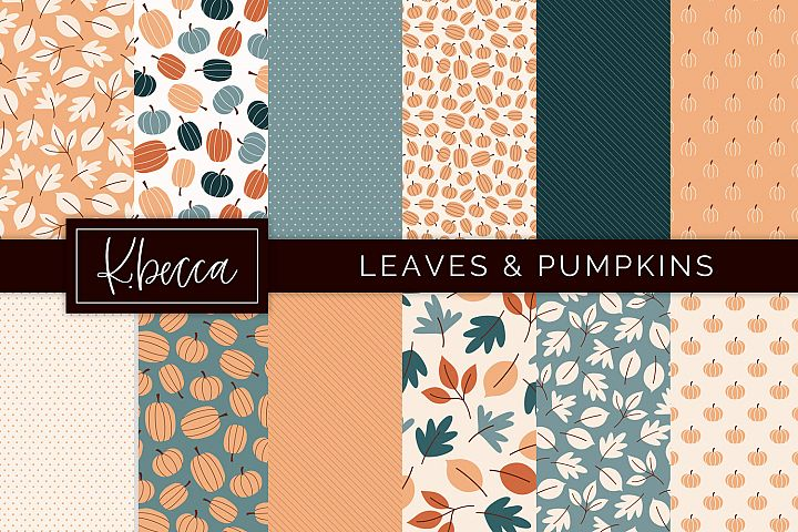 Fall Leaves & Pumpkins Background Patterns Seamless