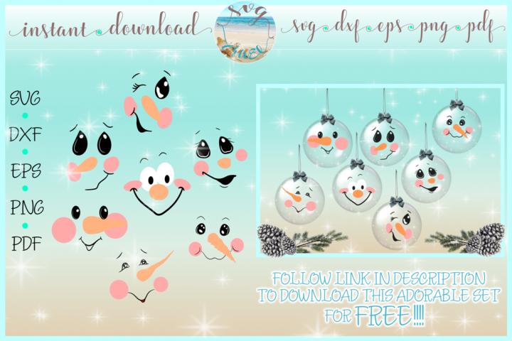 Snowman Face Bundle SVG Dxf Eps Png PDF Files for Cricut example 1