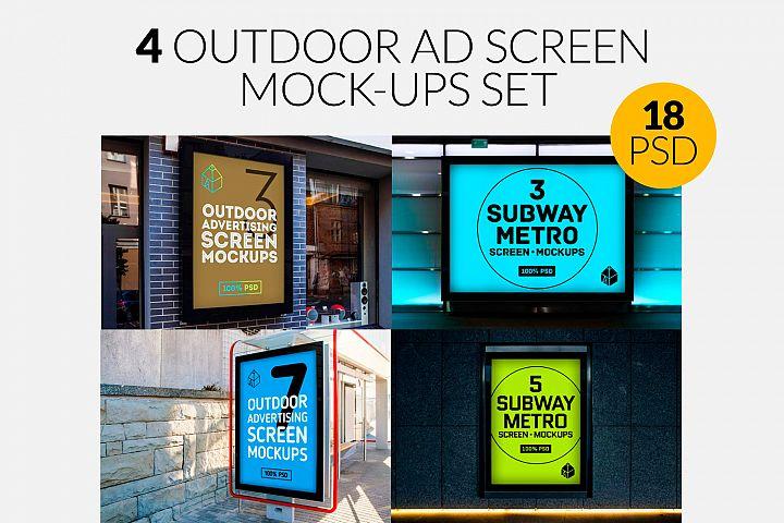 4 Outdoor Ad Screen Mock-Ups Set Bundle
