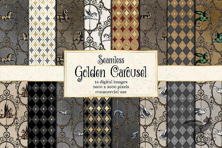 Golden Carousel Digital Paper