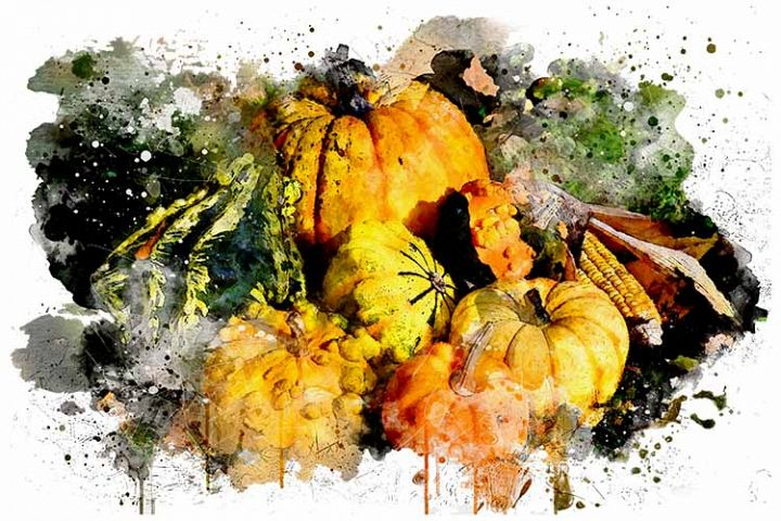 Watercolor Pumpkins Art Design, Sublimation PNG