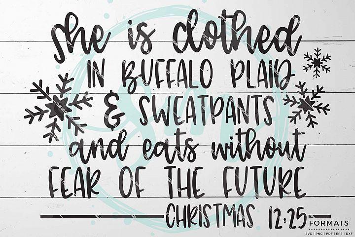 Buffalo Plaid Womans Funny Christmas SVG