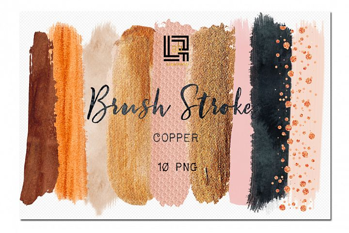 Brush Strokes Clip Art. Copper brush strokes. Autumn colours: copper, twid, pink, peach pink, coal black, beige. Digital Design Resource.