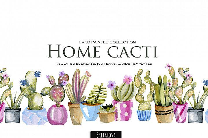 Home cacti. Watercolor clip art.