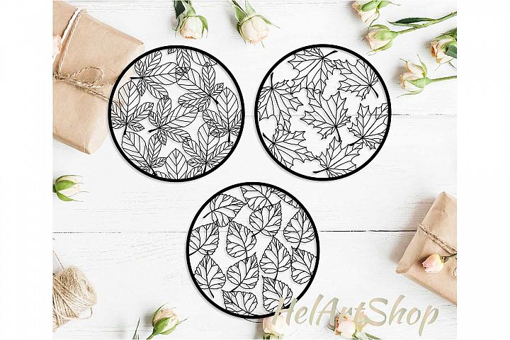 Circle Cutting Template with leaves.