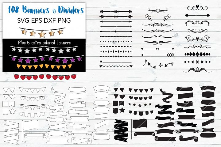 108 Banners & Dividers Bundle- For Crafters