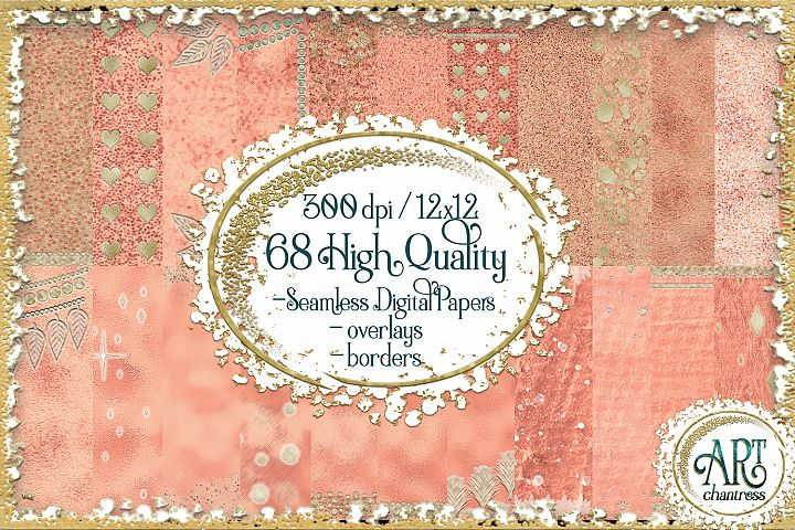 Luxury Rose Gold Glitter Seamless Digital Papers,Borders Set