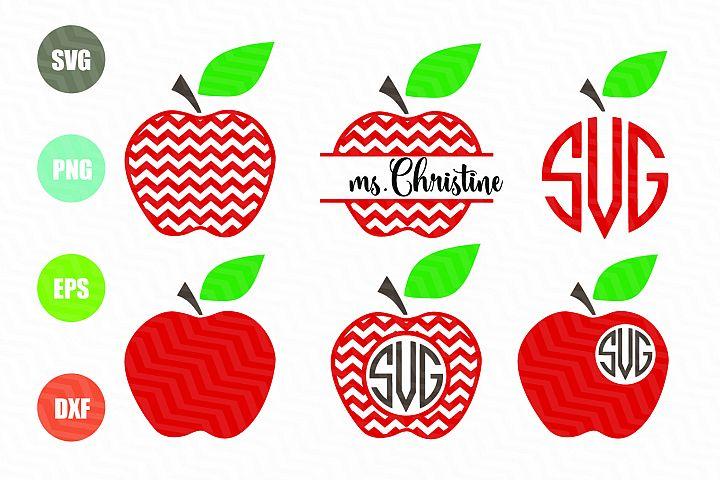 Chevron Apple SVG Apple Monogram SVG Teacher SVG