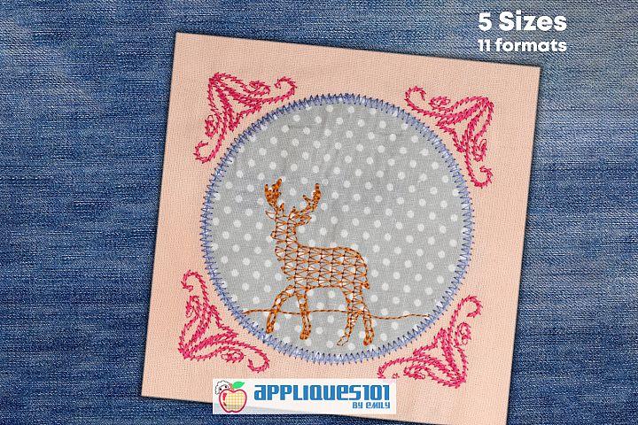 Floral Deer Machine Embroidery Applique Design - Deer