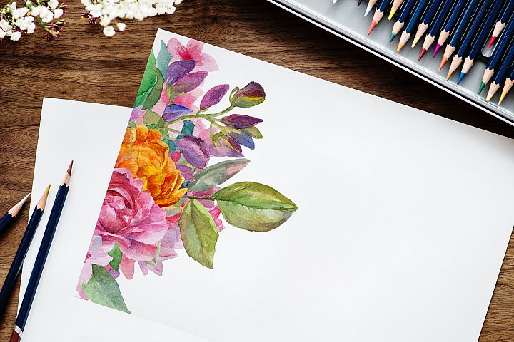 Watercolor floral deer printable clipart, golden graphics example 5
