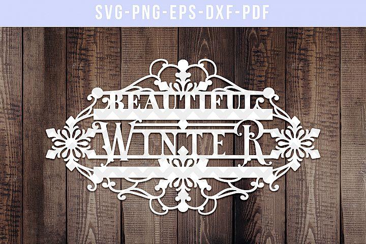 Beautiful Winter Papercut Template, Snow Decor SVG, DXF