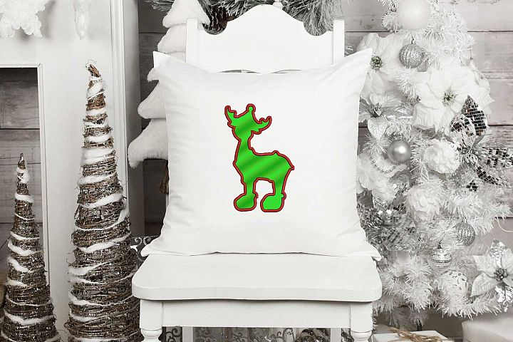 Reindeer Applique Embroidery Design, Wild Embroidery Art