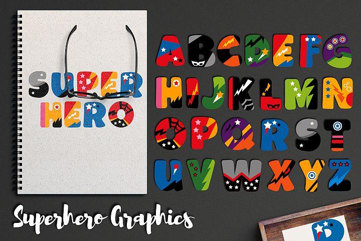 Superhero Alphabet Graphics Uppercase