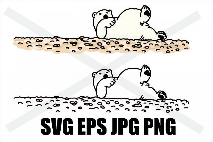 Polar Bear lying around - SVG EPS JPG PNG
