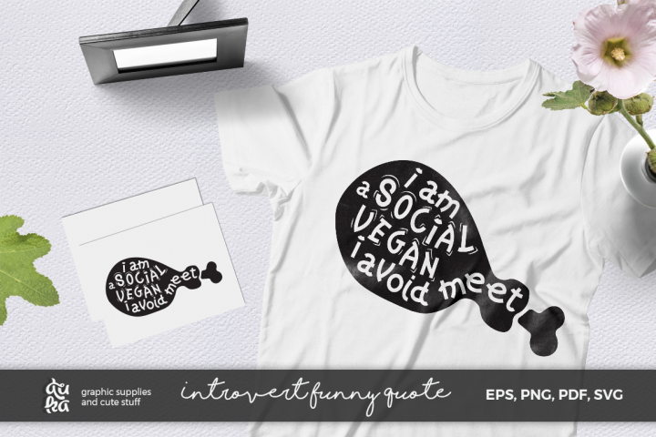 Funny Quote SVG Cut Files- Introvert Social Vegan