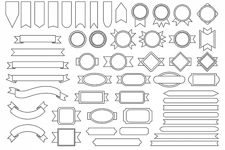 Outline Badge & Banner Clip Art Set