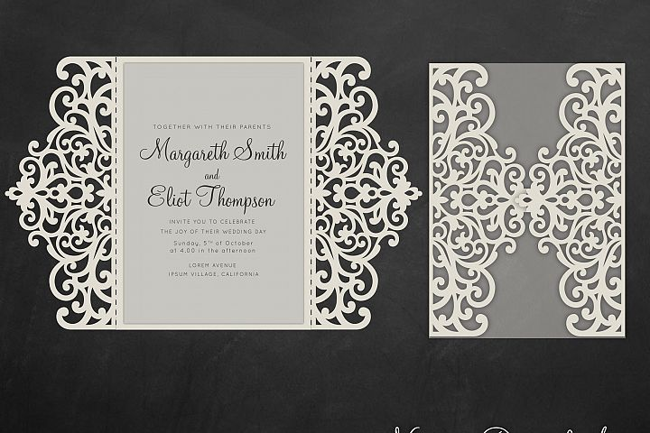 Gate fold wedding invitation , 5x7, Cricut Template, Quinceanera card - SVG, DXF, Cricut, Silhouette Cameo