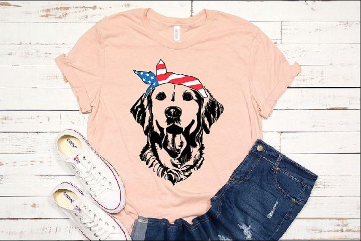 Lab SVG Labrador USA Bandana Head Dog 4th July Breed 1374s