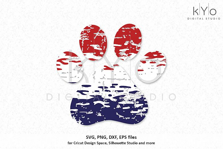 American Dog Paw Distressed Ombre 4th of July Svg Png files