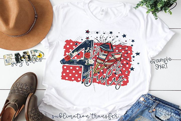 4th Of July Sublimation Transfer example