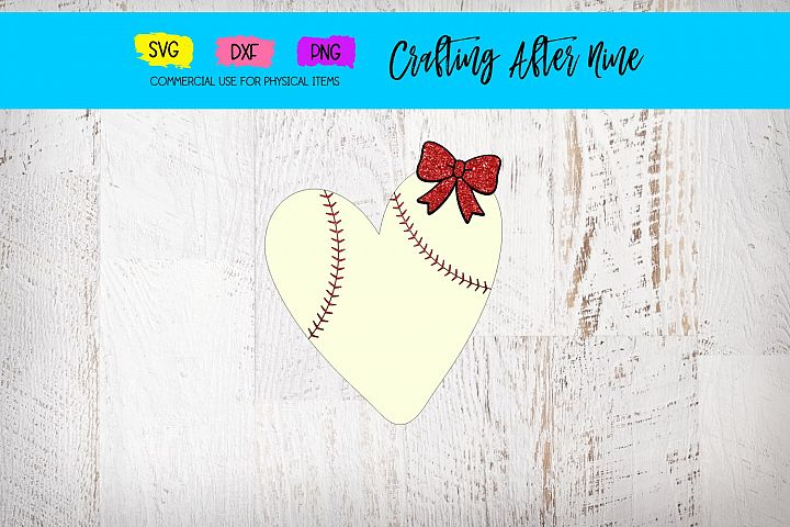 Baseball Heart with Bow, Baseball Stitches, Sports Designs