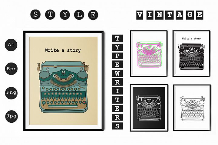 Vintage typewriters prints