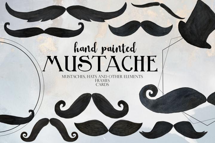 Moustache Watercolor Clip Art Collection