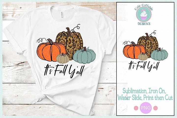Its Fall Yall Sublimation Cheetah Pumpkin Design PNG Fall