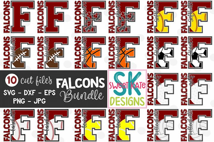 F Falcons Bundle - 10 - SVG DXF EPS PNG JPG