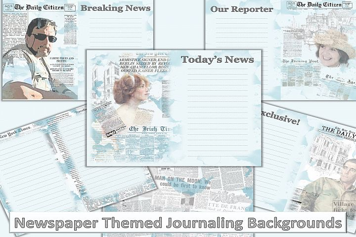 Printable newspaper Collage Backgrounds Journaling Art paper