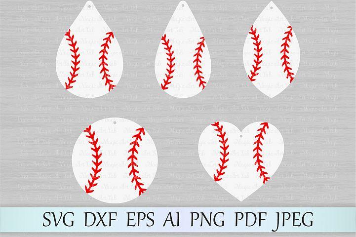 Baseball earrings svg file, Earring svg, Circle earrings cut file, Baseball stitches earrings, Softball earring design, Earrings template