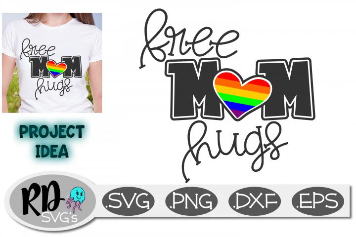 Free Mom Hugs - An LGBTQ pride smooth Cricut cutting file