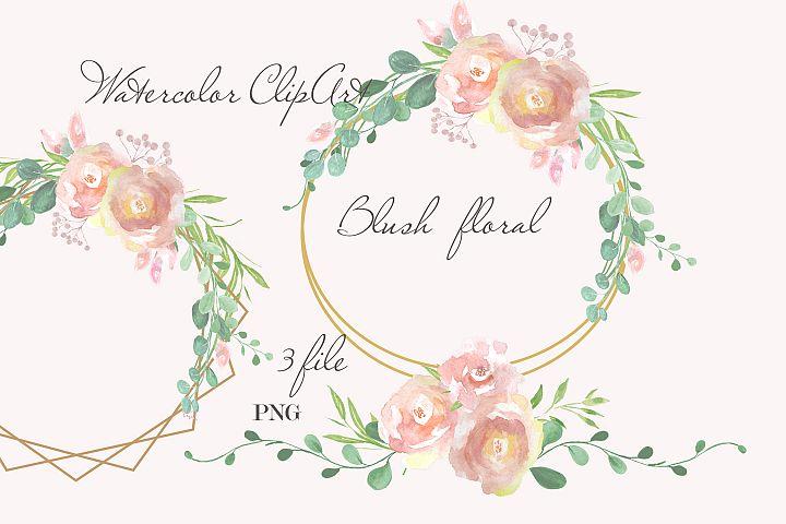 Blush floral watercolor design invitation wall decor