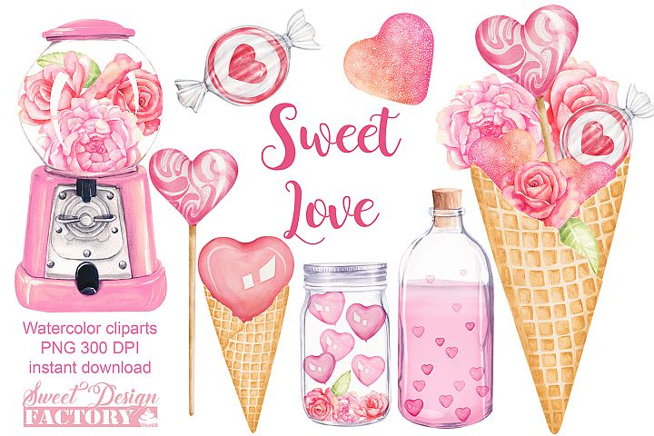 Love watercolor clipart