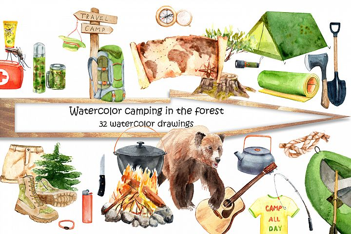 Watercolor hike in the forest camping example image 4
