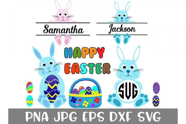 Easter Bundle, Bunny Svg, Easter Monogram Svg,Split Bunny M