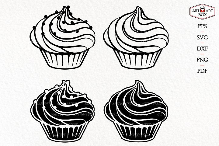 Set cupcakes - with sprinkles and without it.
