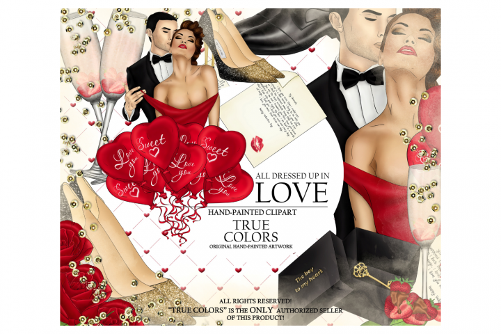 Valentines Day Clip Art Red Dress Girl Fashion Illustration