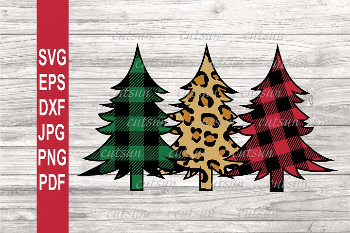 Christmas trees Plaid and Leopard SVG