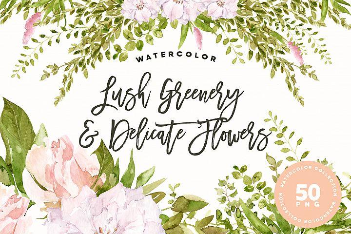Lush Greenery & Delicate Flowers