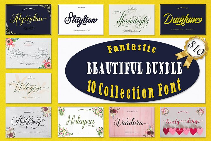 Fantastic Beautiful Bundle 10 Collection Font