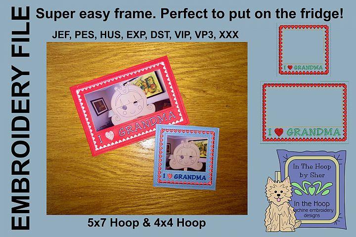 I Love Grandma Picture Frames - 4 x 4 and 5 x 7 Hoops