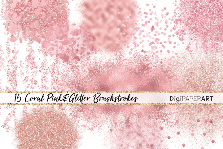 Pink Coral Glitter Elements