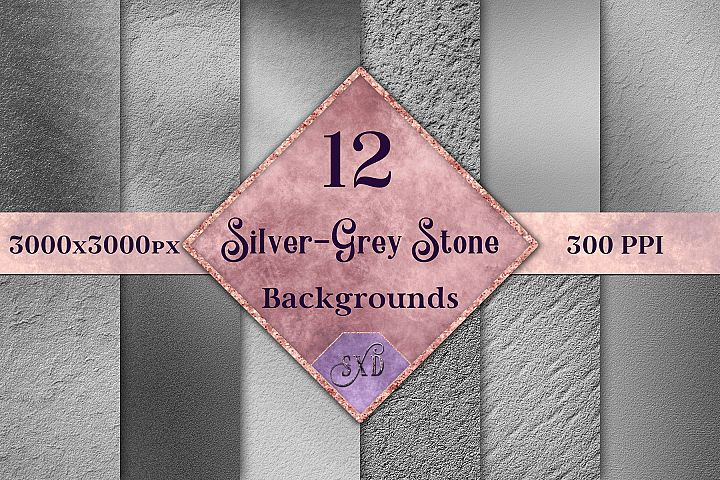 Silver-Grey Stone Backgrounds - 12 Image Textures Set