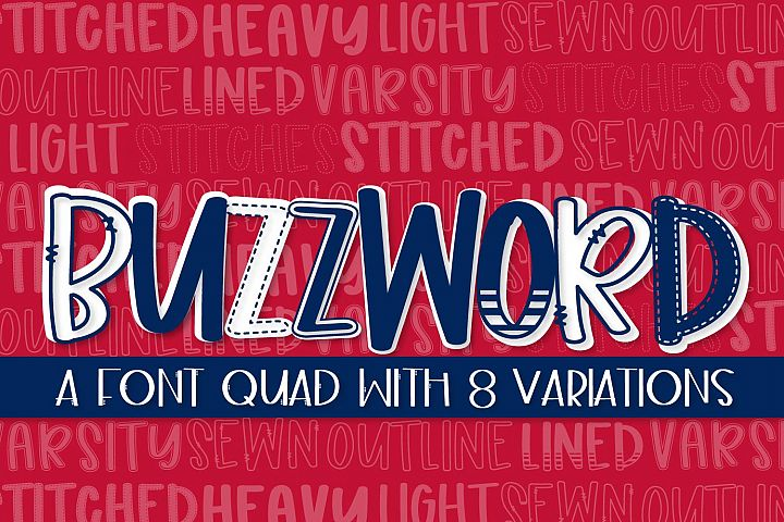 Buzzword - A Font Quad With 8 Variations