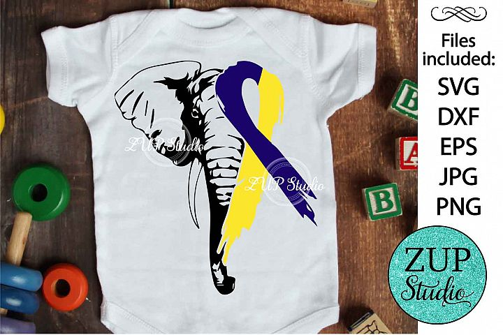 Elephant Face with Down Syndrome Ribbon svg design 484