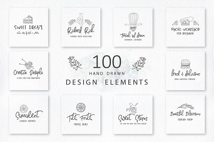 100 Hand drawn design elements. Logos.