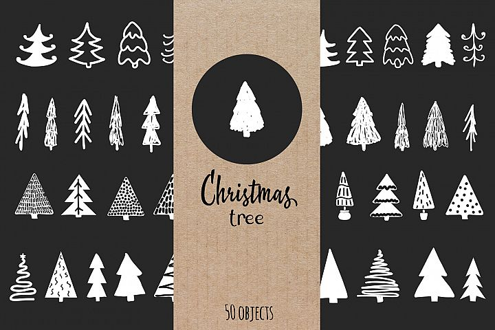 Hand drawn Christmas tree set