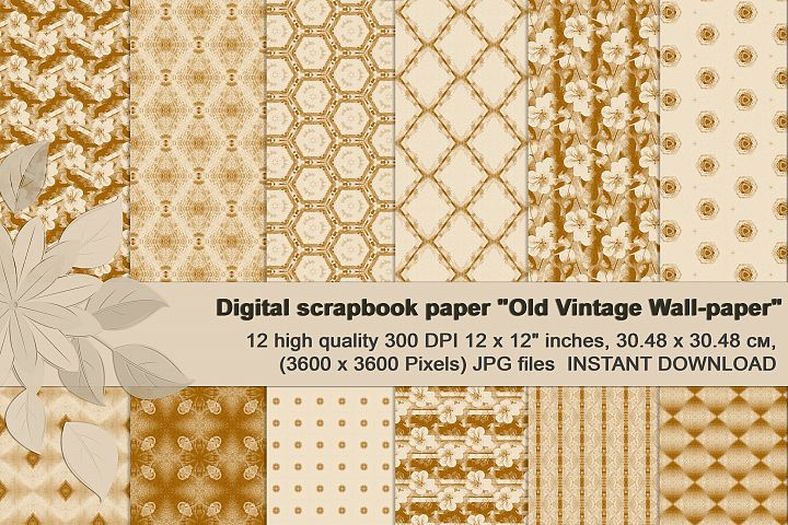 Ancient white-beige floral and geometrical Scrapbook Paper.